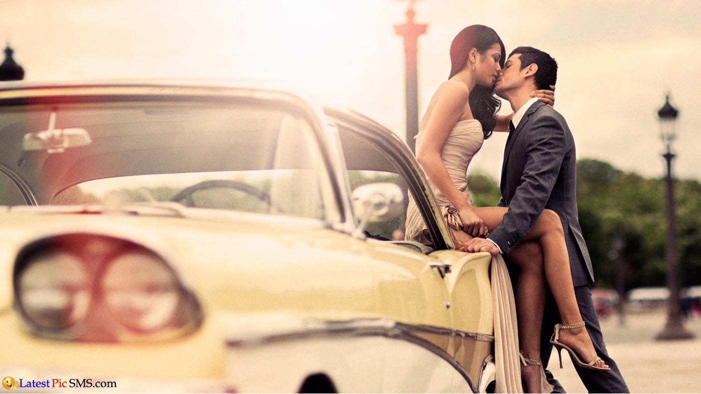 couple kiss on car