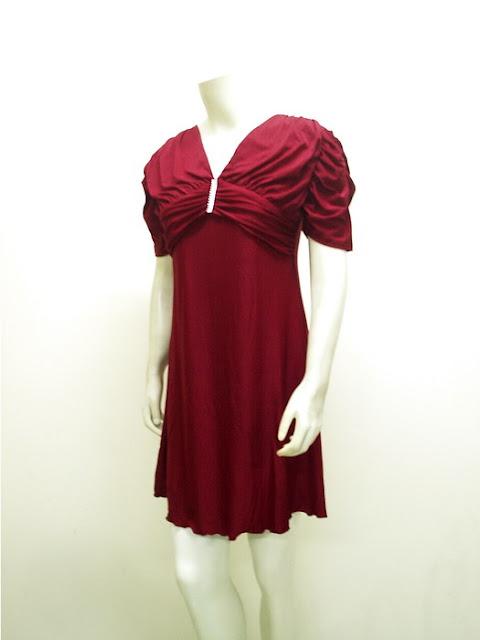 Ladies Pretty Sack Dress Spandex Anita | LC-3624-Maroon