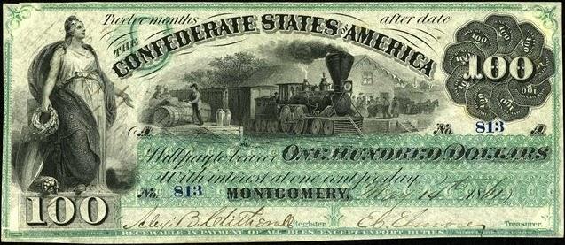 100 долларов Конфедеративных Штатов Америки, 1861 год