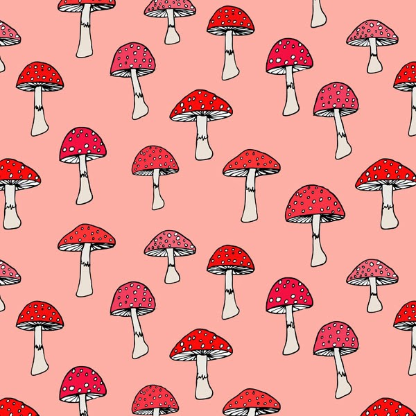 Ink and watercolor red & coral mushrooms pattern print by Abby Galloway