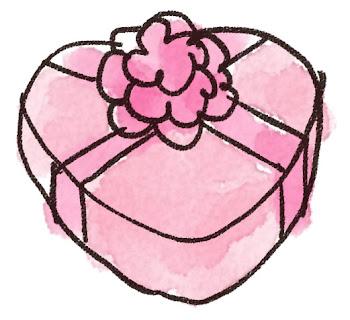 ハート型のプレゼント箱のイラスト(バレンタイン)