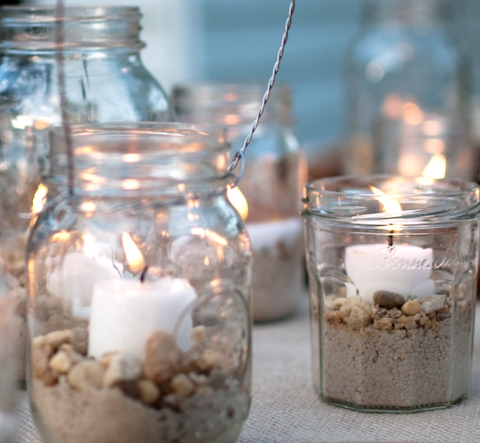 glass jar candle holders with beach sand