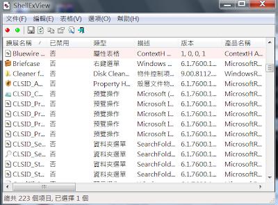 滑鼠右鍵功能選單編輯管理工具,ShellExView V1.85 繁體中文綠色免安裝版!