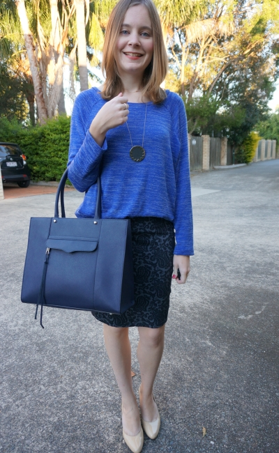Business Causal Autumn office wear jacquard pencil skirt nude heels monochrome blue outfit RM MAB