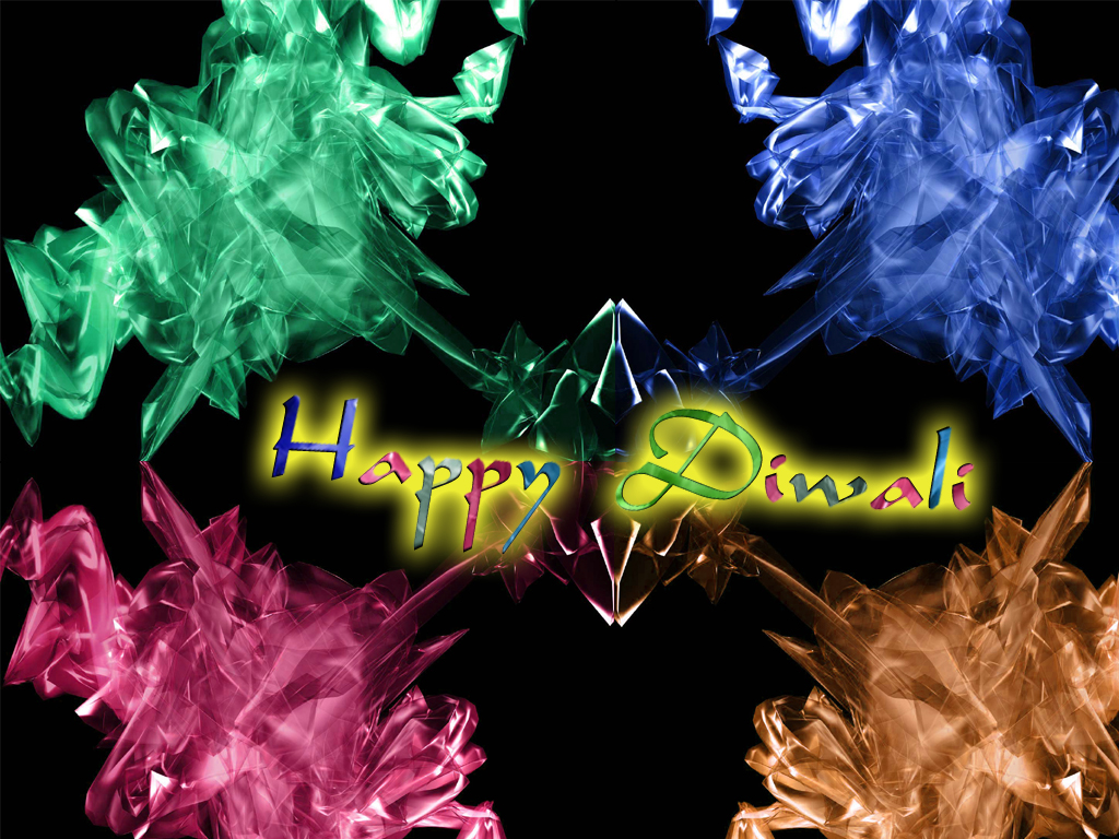 Cristal Back Ground Greetings Happy Diwali In 3d Glass