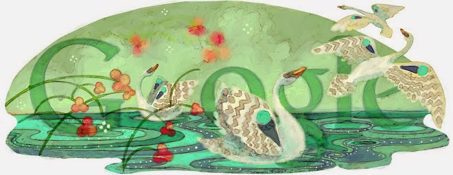 Three swans swimming in a glittering lake with red flowers on top of the Google logo.