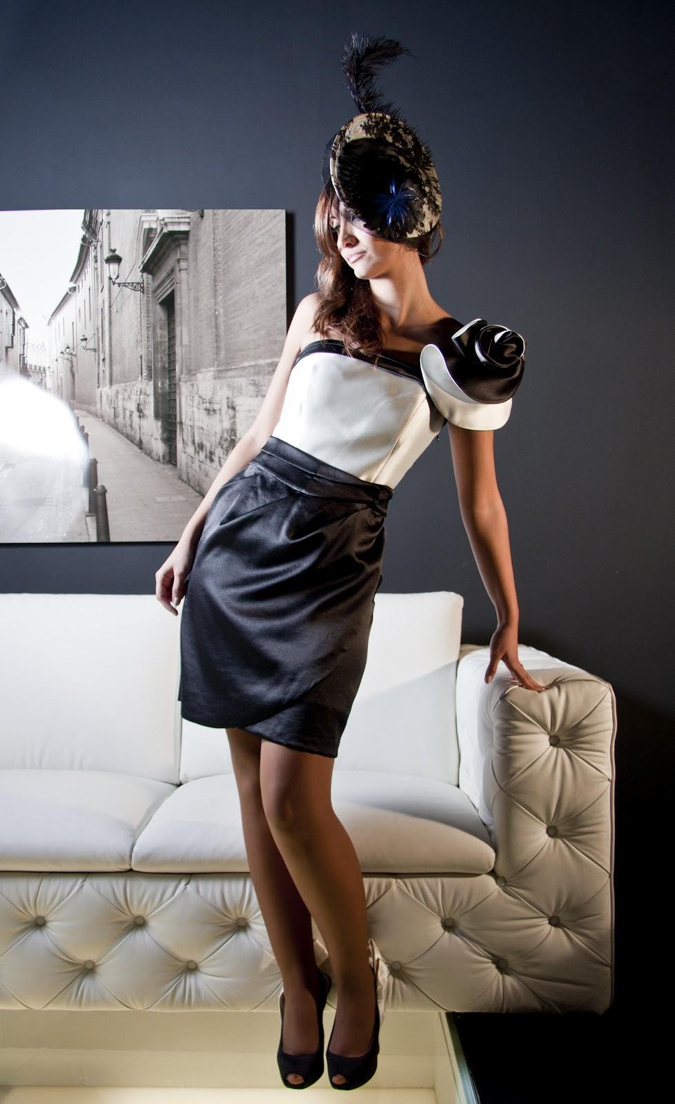 Modelos de vestidos cortos en blanco y negro