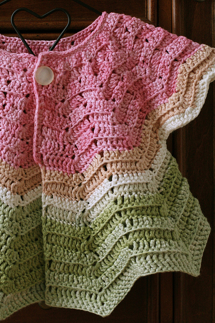 Free Crochet Pattern For Newborn Jacket : tangled happy: Chevron Cardigan