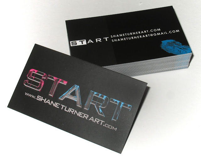 New business cards for Montreal based artist Shane Turner with custom graphic designed logo with dripping paint effect