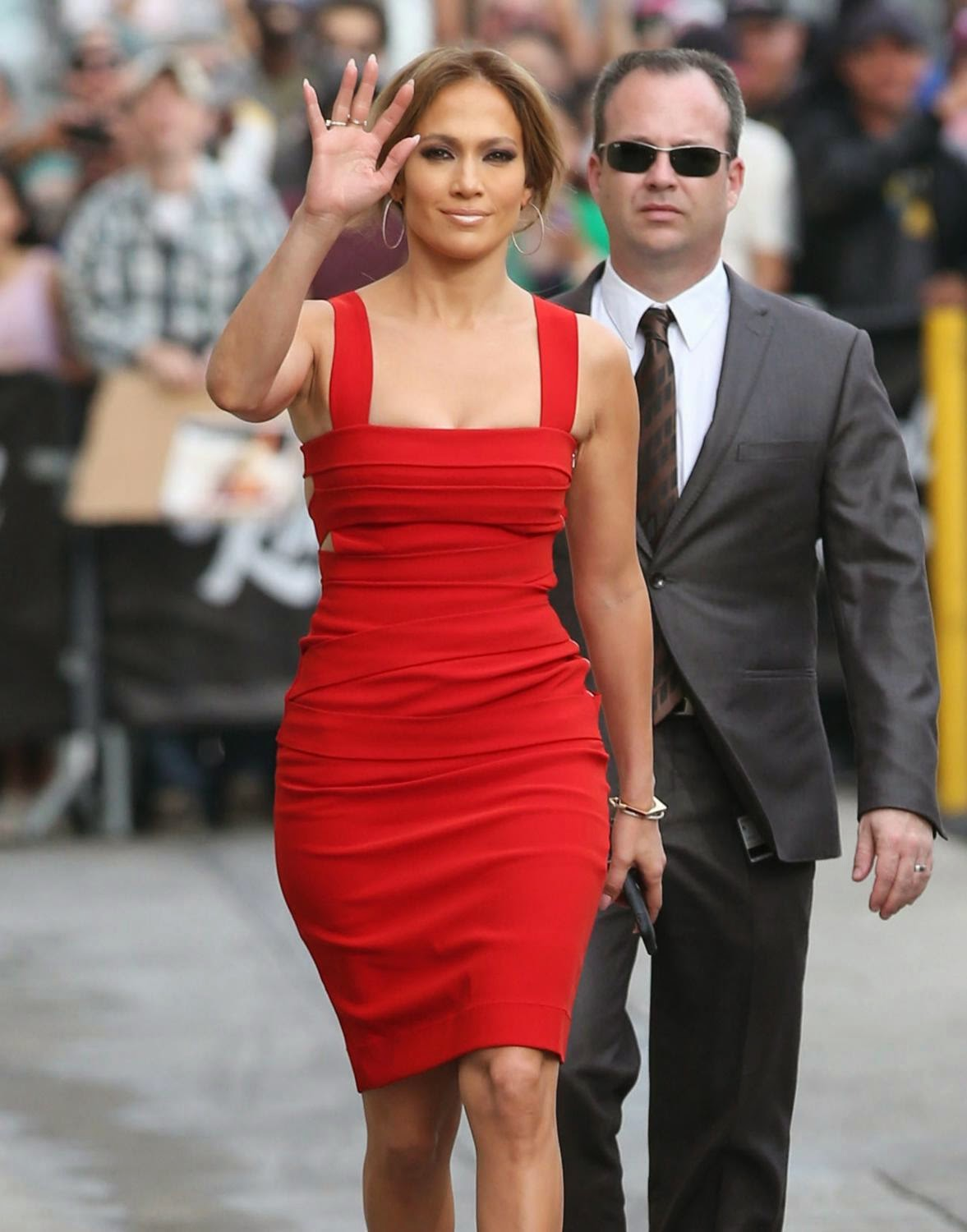 Singer, Actress @ Jennifer Lopez Looking Red Hot at Jimmy Kimmel Live Show