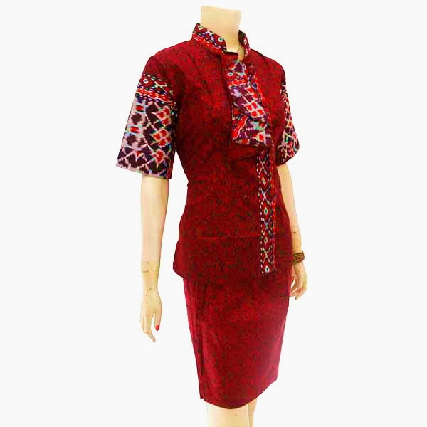 DB3733 Model Baju Dress Batik Modern Terbaru 2014