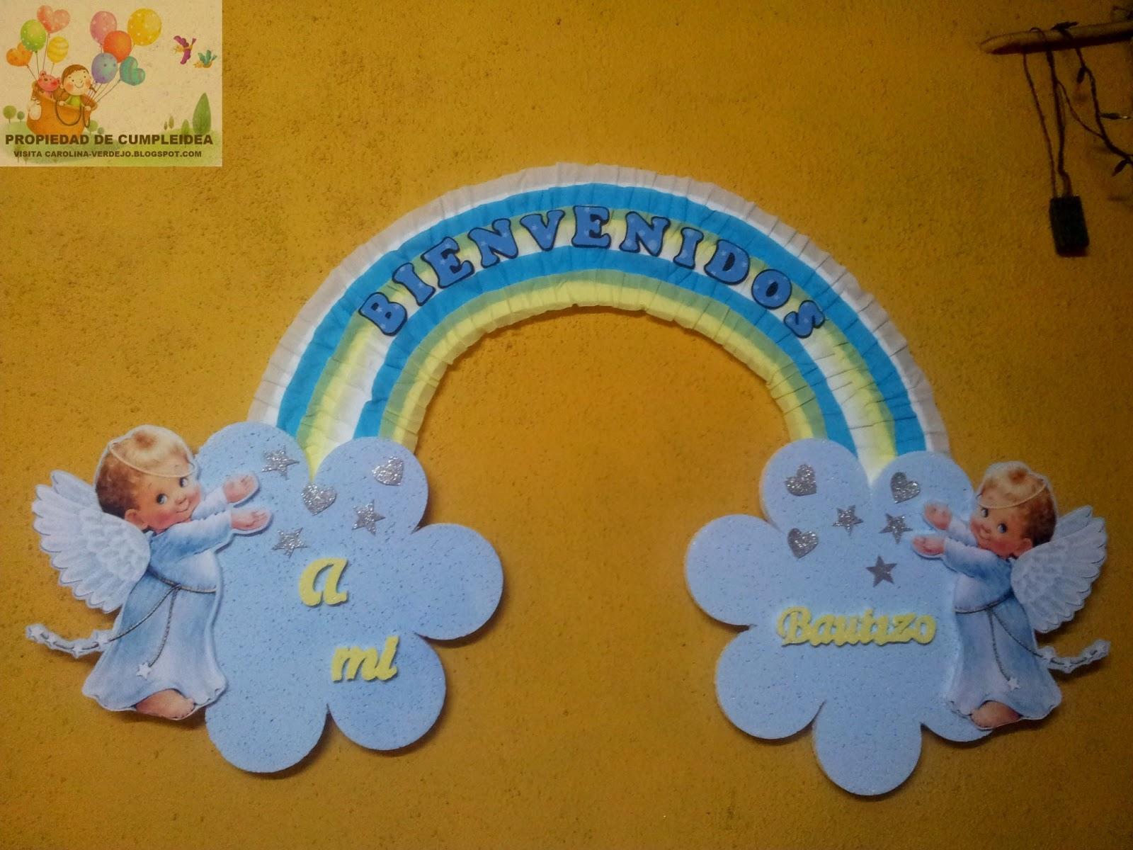 DECORACIONES INFANTILES: ARCOIRIS DE BIENVENIDA PARA BAUTIZO
