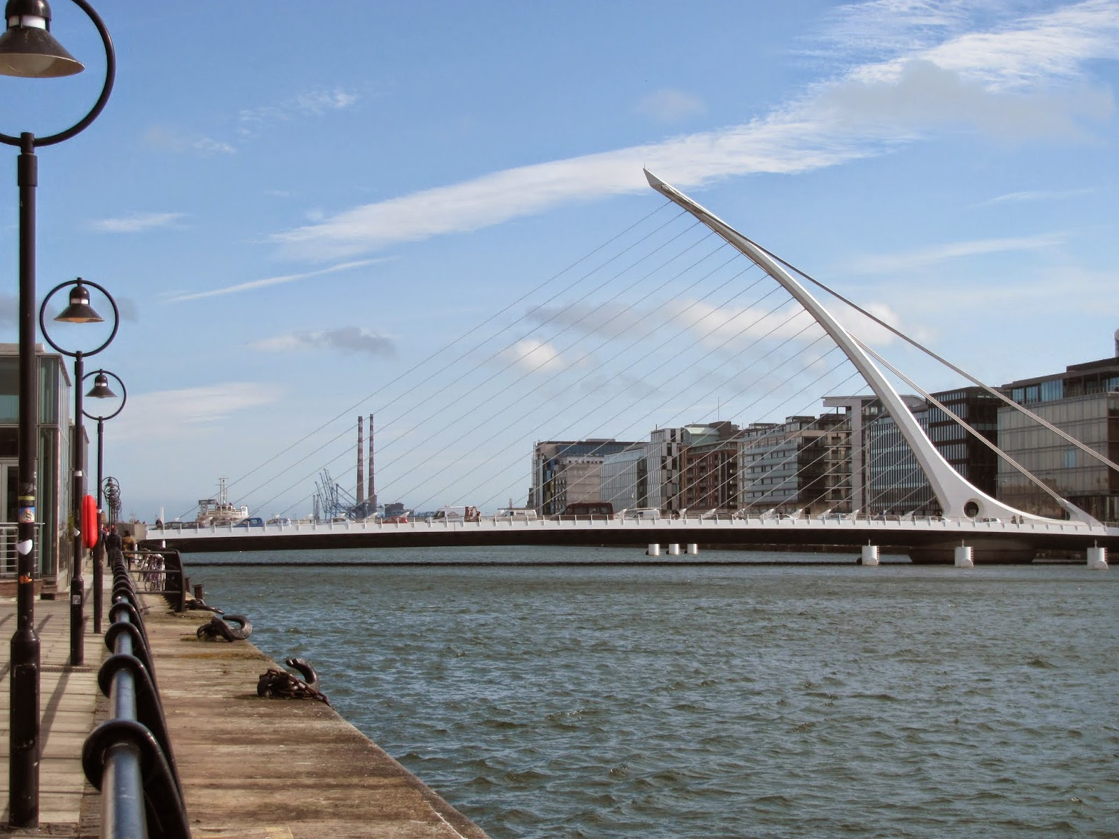 Samuel Beckett Bridge at High Tide Dublin, Ireland