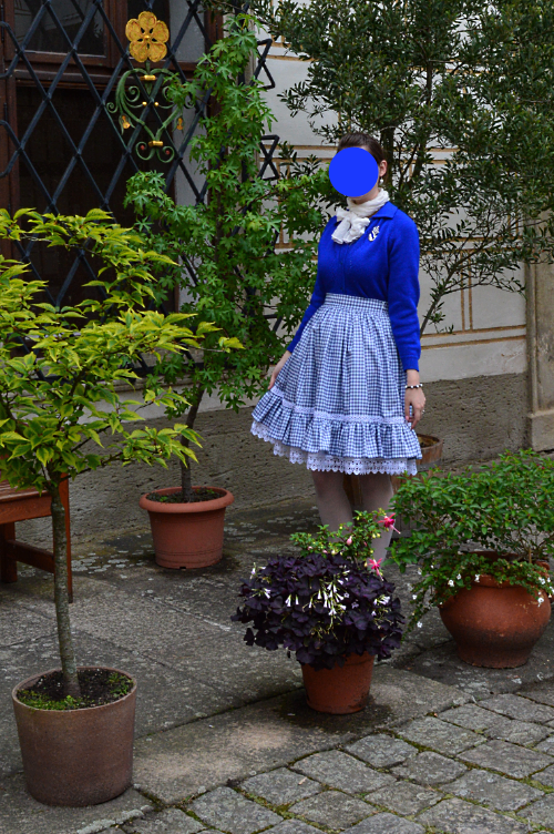 blue, lolita, japan, skirt, cardigan, ootd, outfit