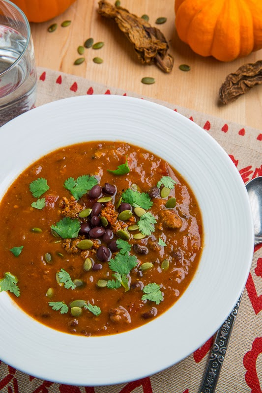 Pumpkin Chorizo and Black Bean Soup