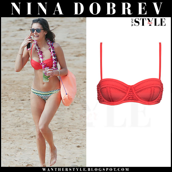 Nina Dobrev in red bikini top and green printed bikini bottoms beach hawaii what she wore