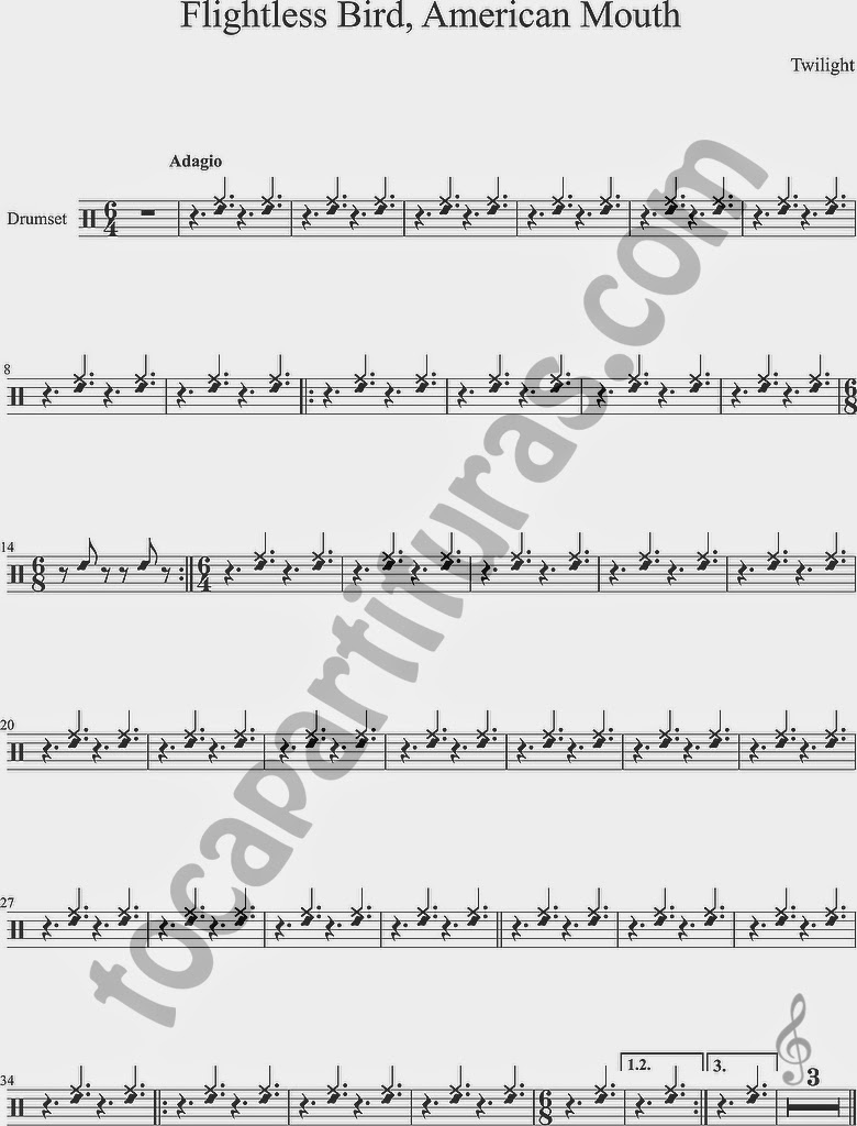 Partitura de Flightless Bird, American Mouth para Batería y Pandereta y aro de Caja Percusión de Crepúsculo Twilight Sheet Music for Drumset