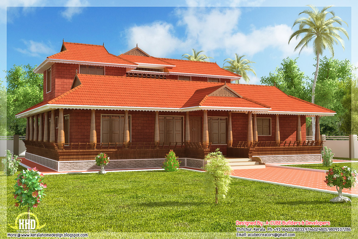 2231 kerala illam model traditional house kerala for Kerala traditional home plans