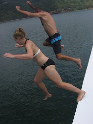 Father and daughter jumping 5 meters into the refreshing South China Sea.