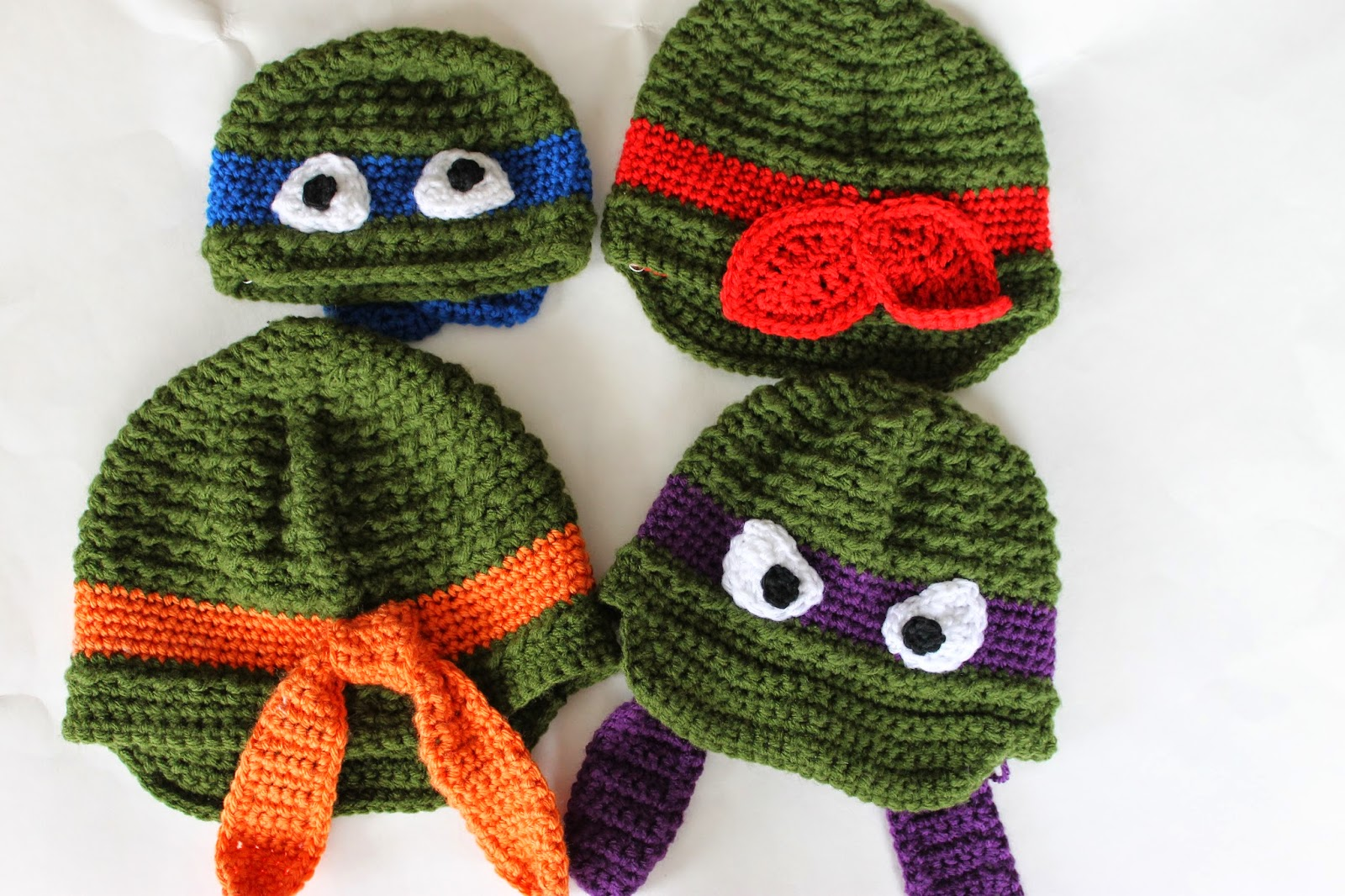 Free Crochet Pattern Turtle Hat : Stay@Home Stitchings: Ninja Turtle Newsboy AND Beanie Pattern