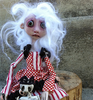 Pirate girl art doll striped costume
