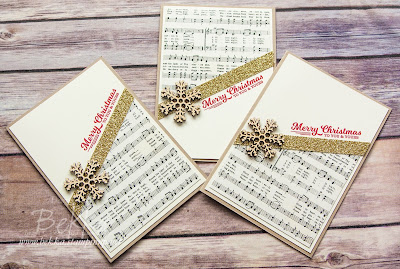 Musical Merry Christmas Snowflake Card made using Stampin' Up! UK Supplies - get them here