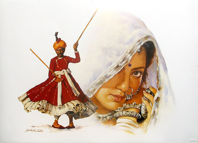 Rajasthani Girls Art Paintings 40