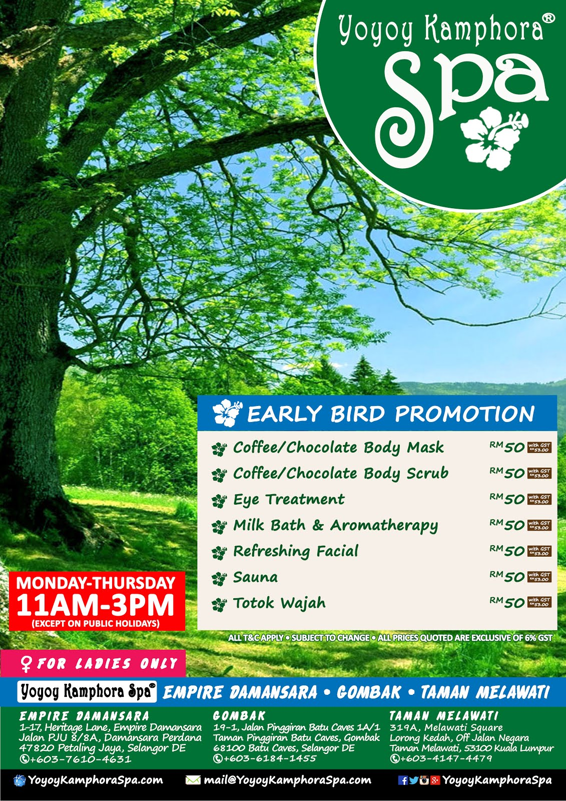 Early Bird Spa Promotion 2017