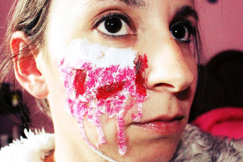 maquillaje halloween con cola y sin latex