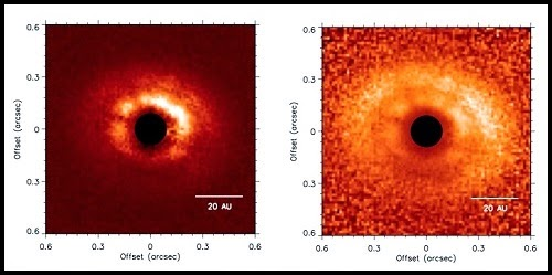 Left: J-band polarized intensity (P⊥) images. Right: P⊥ scaled by r2, where r is the distance in pixels from the central binary, corrected for projection effects. Both images are shown on a linear scale and oriented north up and east left. The coronagraph is represented by the black filled circles. Credit: gemini.edu