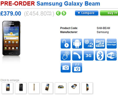 Samsung Galaxy Beam Available For Pre-Order In The UK Via Clove