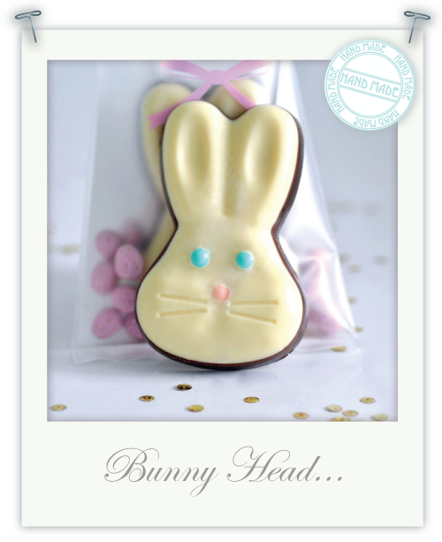 Hand-made chocolate bunny heads