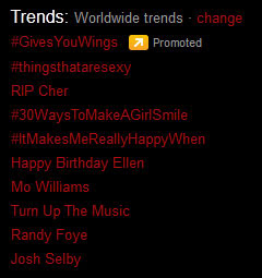 'RIP Cher' as a trending topic