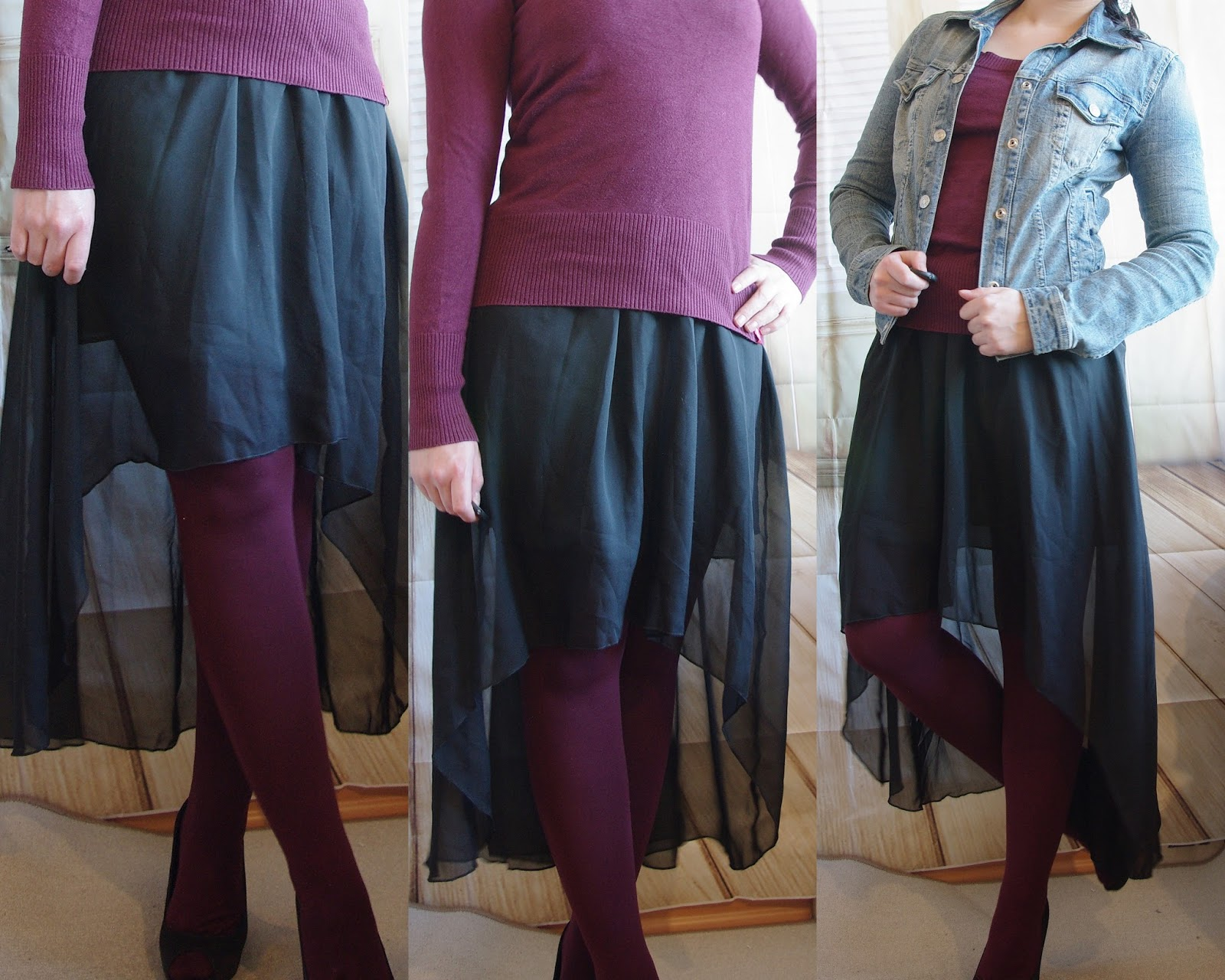 Outfit Vokuhila Skirt, Sweater, colored tights and jeans jacket