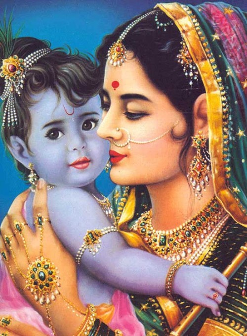 collections cute krishna with his mother