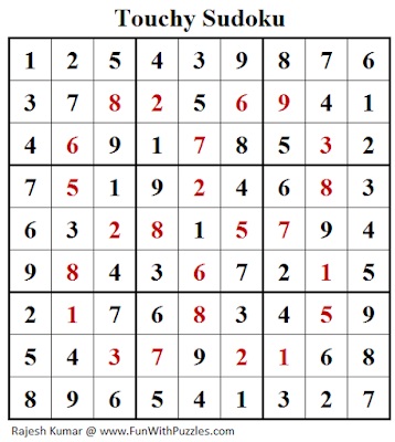 Answer of Touchy Sudoku (Daily Sudoku League #137)