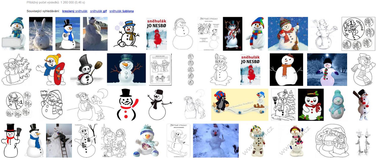 Sněhulák - obrázky a šablony ke stažení