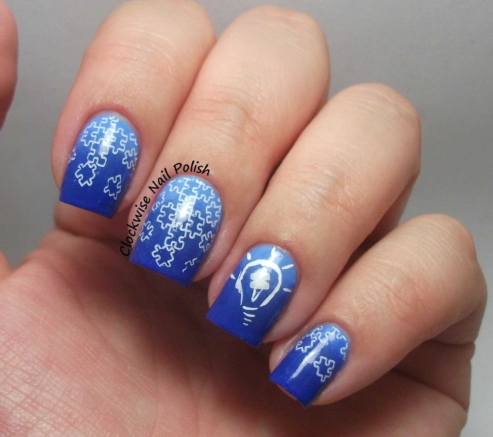 The clockwise nail polish light it up blue movement autism the clockwise nail polish light it up blue movement autism awareness nail art prinsesfo Images