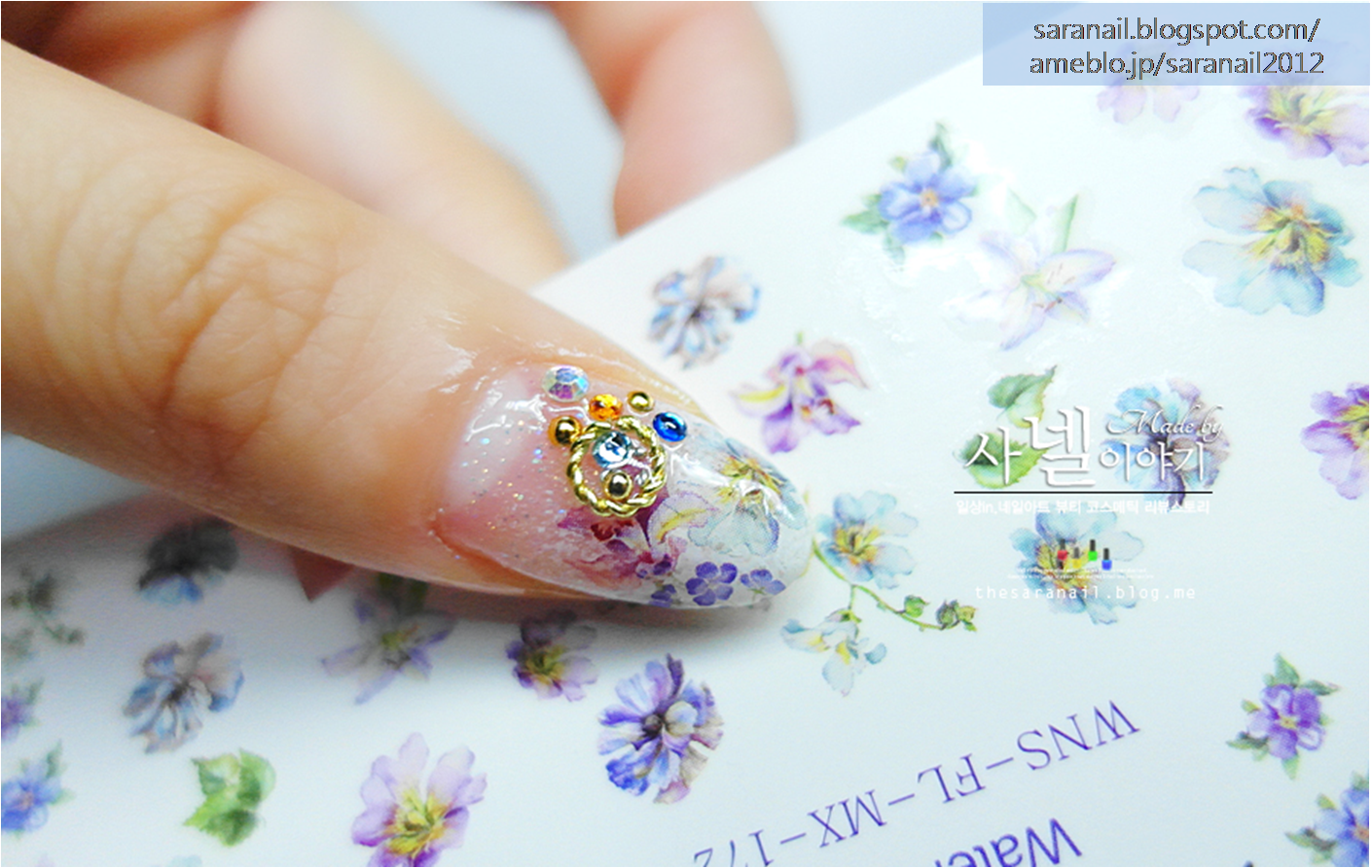 Watercolor Painting Sticker / Self Nail Art / Easy-to-follow Nail Art / Nail Product/ Flower Print Sticker / Flower Pattern