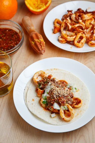 Calamari Tacos with Salsa Naranja on Closet Cooking