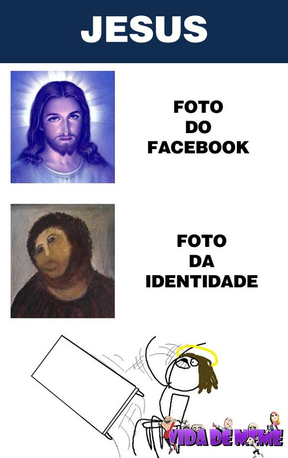 Tirinha do blog Vida de Meme: Foto do facebook vs foto da indentidade