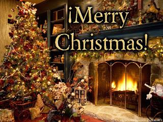 arbol de navidad y chimenea