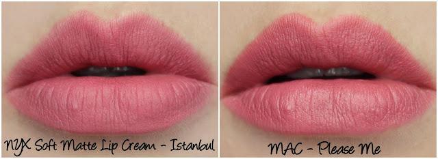 NYX Soft Matte Lip Cream Istanbul MAC Please Me lipstick comparison