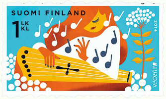Issued May 5th The Europa Stamp Of Finland With A Kantele Its Twin Represent Sort Accordion Posti In Finnish And English