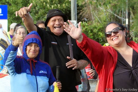 L-R: Pip West, Henare O'Keefe, Moana Taubale, annual Waitangi Day walk, a hikoi from Waipatu Marae, Waipatu, Hastings, to Farndon Park, Clive, for the Waitangi Family Festival. photograph