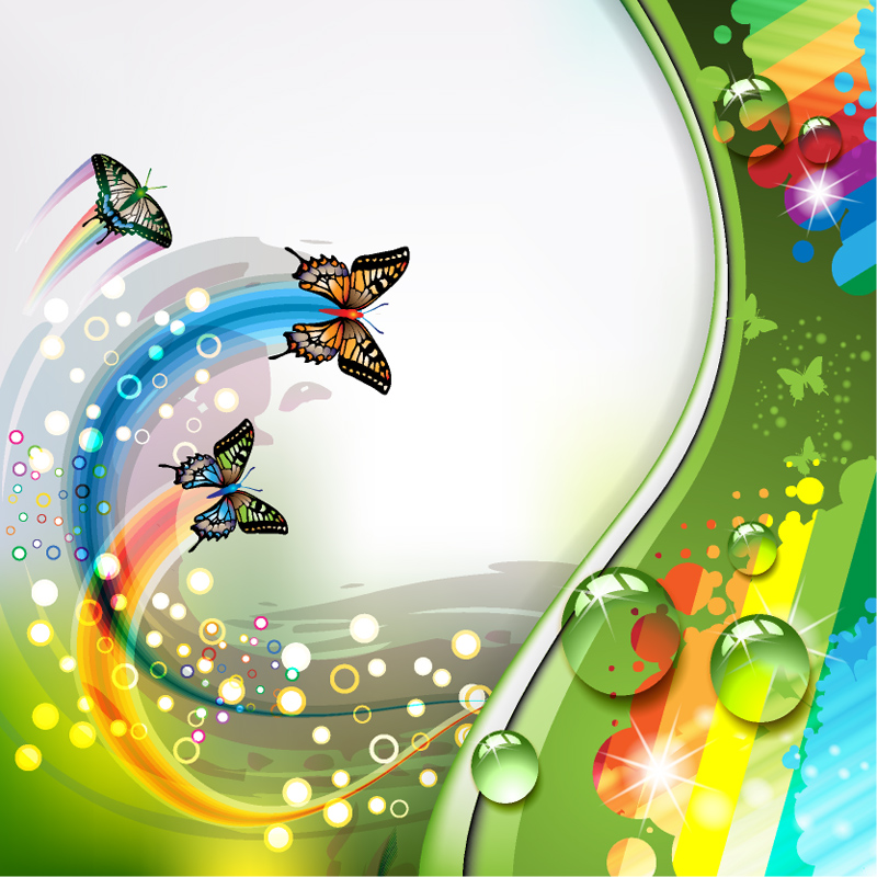 Colorful flower and Butterfly background vector | Free ...