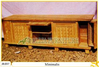 Buffet tv kayu jati ukiran minimalis