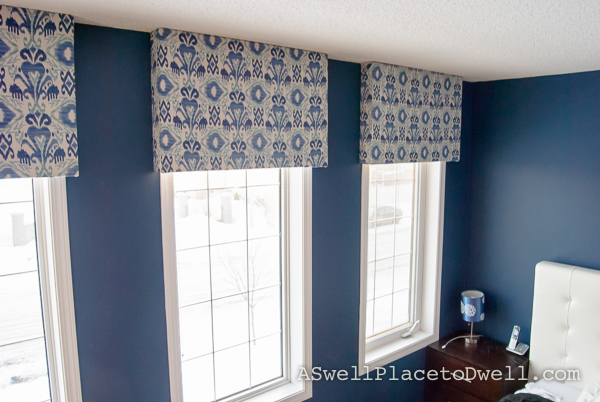 DIY box valance with ikat fabric
