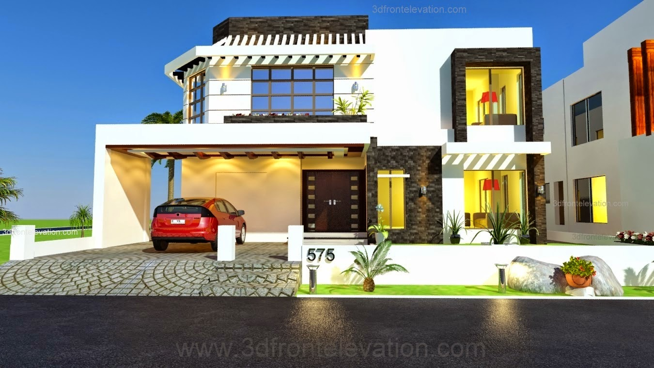 3d Front 1 Kanal House Drawing Floor Plans Layout House Design Plot In Mpchs Plot: 3d house drawing