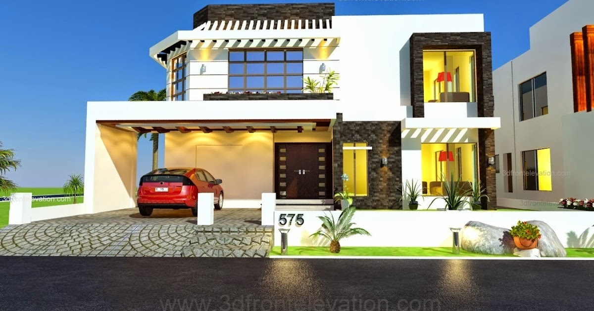 Front Elevation For 1 Floor House : D front elevation kanal house drawing floor plans